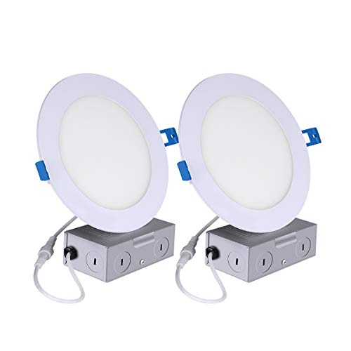 2Pack Ultra-Thin Recessed Ceiling Light with Junction Box 12W 6