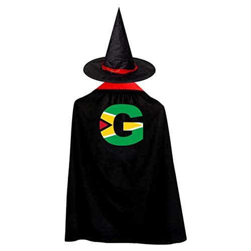 Kid's G Letter Guyana Flag Halloween Wizard Witch Cloak Cape Robe And Hat]()