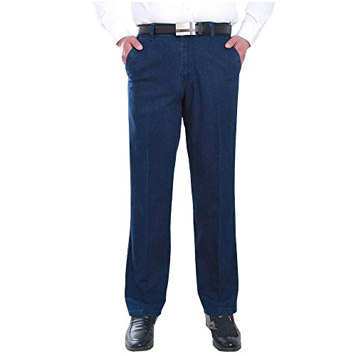 ZEVONDA Jeans - Jeans Rectos Sueltos de Otoño e Invierno Pantalones Cómodos de Cintura Alta para Hombres Azul Oscuro