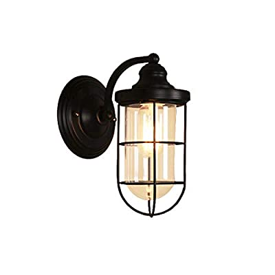 BAYCHEER HL416367 Industrial Retro Vintage style Small cage Wall Sconce wall light lamp in Black with Clear Glass use E26/27 Bulb1 light