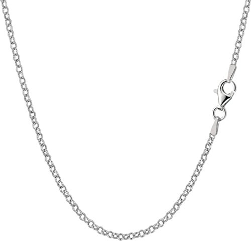 (Sterling Silver Rhodium Plated Rolo Chain Necklace, 1,8mm, 18