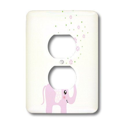 3dRose LLC lsp_113125_6 Cute Pink Elephant Blowing Flowers from Trunk - Girly Kawaii Kids Nursery Animal Baby Girl Cartoon 2 Plug Outlet Cover by 3dRose (Image #2)