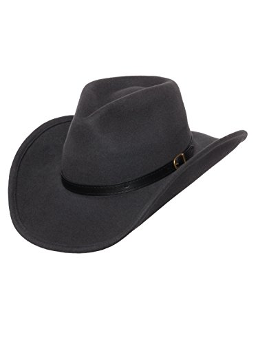 Men's Outback Wool Cowboy Hat Dakota Gray Shapeable Western Felt by Silver Canyon, Gray, Large