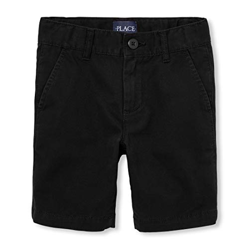 The Children's Place Boys' Big' Uniform Chino Shorts, Black, - Dress Black Boys