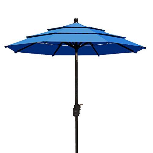 EliteShade Sunbrella 9Ft Market Umbrella Patio Outdoor Table Umbrella 3 Layers Ventilation,Bonus Weatherproof Cover (Sunbrella Royal (Blue Sunbrella)