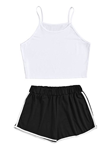 Trim Short Contrast (SweatyRocks Women's 2 Piece Outfit Strapy Crop Top and Shorts Set Tracksuits White Black S)