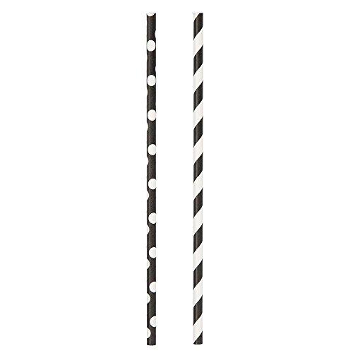 Black Polka Striped Paper Straws
