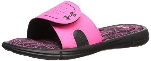 Under Armour Women's Ignite Nimble VIII Slide Sandal, Jet Gray (103)/Mojo Pink, 7 M US