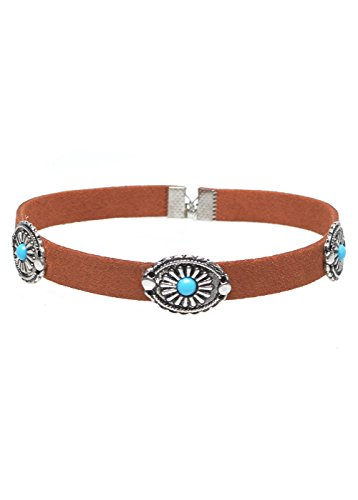 Wink Gal Women's Boho Turquoise Velvet Concho Coins Choker Necklace Brown