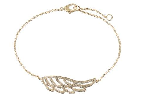 Les Poulettes Bijoux-Bracelet plaqué or Aile d'ange et strass