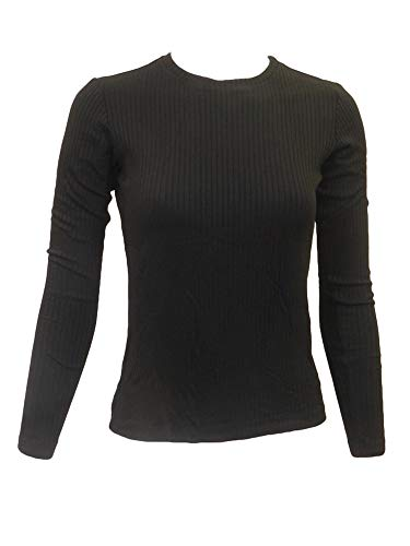 Hard Tail Forever Womens Long Sleeve Ribbed Crewneck T Shirt, Stretch Fit Style 5X3-06