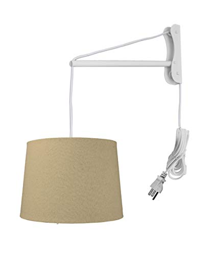 2 Arm Pendant - MAST Plug-in Wall Mount Pendant, 2 Light White Cord/Arm with Diffuser, Sand Linen Shade 12x14x10
