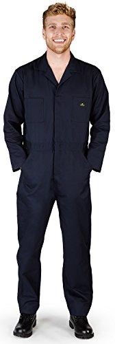 - NATURAL WORKWEAR - Mens Tall Long Sleeve Basic Blended Coverall, Navy 38092-MediumTall