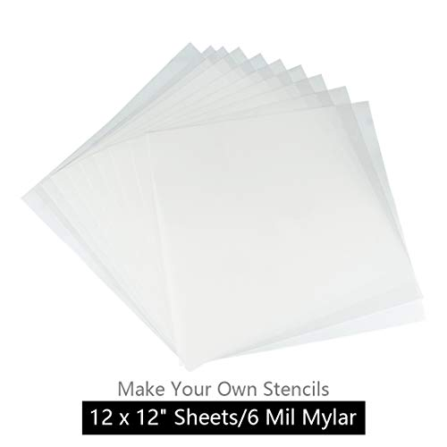 JINSEY Make Your Own Stencil - 10 Pack 6 Mil 12 x 12 inch Blank Stencil Sheets - Ideal Use Cricut & Silhouette Machines(Mylar Material)