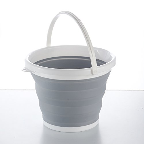 10l Bucket - Attac Foldable Bucket Folding Fishing Outdoors Hiking Collapsible Water Carrier Silicone Camping Caravan, Grey/White, 10 Liter