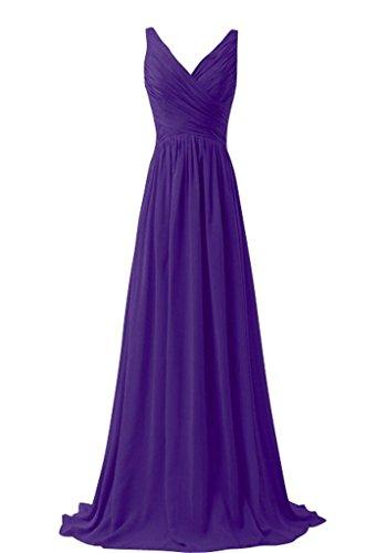 38eb038fadeda Shiningdress Women's Sexy V Neck Pleats Chiffon Bridesmaid Dress Size 8  Purple