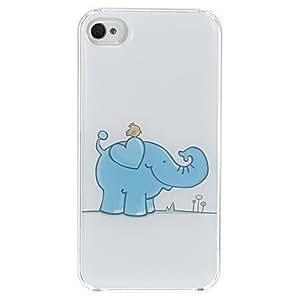 GONGXI-El pájaro en el patrón del elefante de epoxy duro caso para iPhone 4/4S