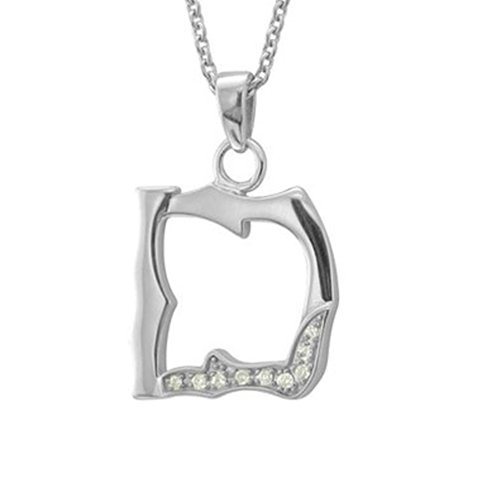 Men's Black Sterling Silver Alphabet Initial Letter D Diamond Pendant Necklace (0.06 Carat) 0.06 Ct Initial Pendant