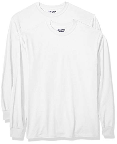 Gildan Men's DryBlend Adult Long Sleeve T-Shirt, 2-Pack, White, Large ()