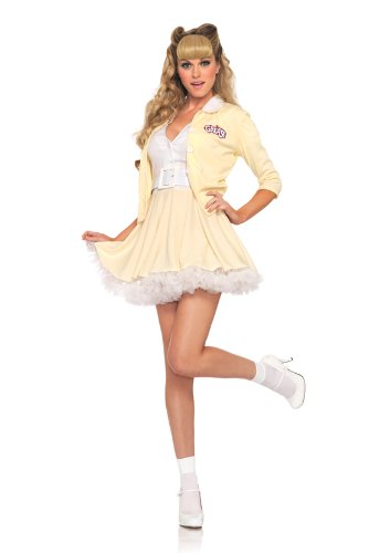 Leg Avenue Grease Women's 3 Piece Good Sandy Button Front Dress with Attached Belt And Cardigan, Yellow/White, (Good Sandy Grease Adult Costume)