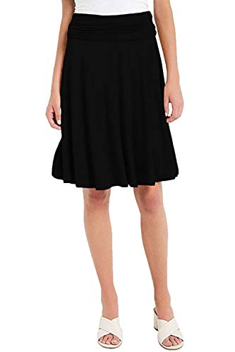- Vivicastle Women's Basic Fold-Over Stretch Midi Knee Length Flare Skirt - Made in USA (Medium, AM5, Black)