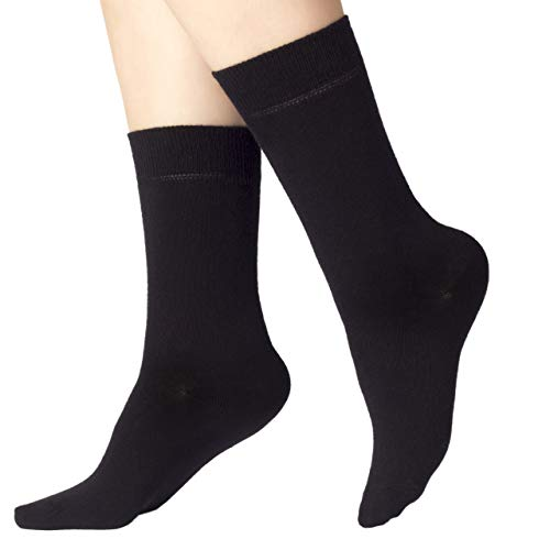 Ruby Slippers 4 Pairs Women's Eco Friendly Cotton Dress Socks / Crew Length / Business Casual (Black, 9-12)