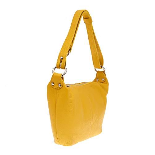 En Para Color Italia Amarillo Bolso Echa Peleteria Piel Verdadera Mujer xtdqdvf4