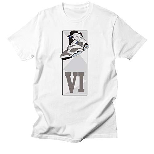 (Custom T Shirt Matching Style of AIR Jordan VI Flight Flint JD 6-12-7-WHITE-3XL)