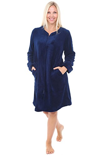 - Alexander Del Rossa Womens Fleece Robe, Mid-Length Zip-Front Bathrobe, XS Navy Blue (A0309NBLXS)