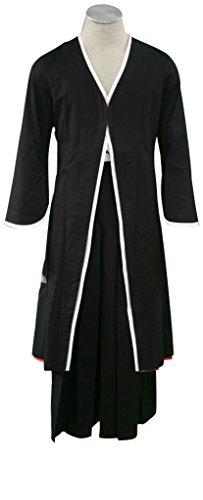 Mtxc Men's Bleach Cosplay Kurosaki Ichigo Bankai Kimono Size XS-Plus Black