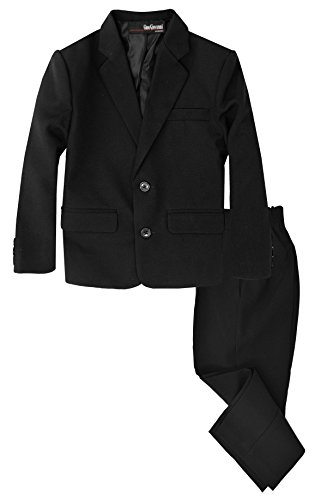 G218 Boys 2 Piece Suit Set Toddler to Teen (12, Black)