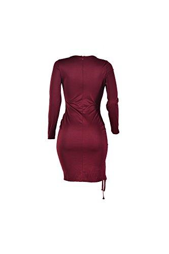 Elegante profundo escote en v hueco de las mujeres Bodycon Mini vestido de Cóctel Red