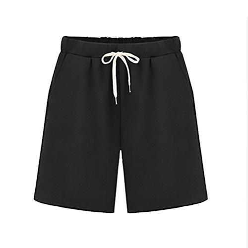 Nero Shorts Donna Training Ragazza Taglie Moda Corti Abbigliamento Jogging Bermuda Estivi Fashionable Sportivi Forti Pantaloni Baggy Casual narnA1xH