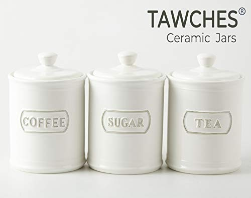 Ceramic Cookie Jars with Lids Airtight Set of 3 for Saving Sweet Coffee Candy Sugar Biscuits Chocolate Tea Food Storage Jar TAWCHES TC001(B White 3pcs) (And Jars Tea Sugar Ceramic Coffee)