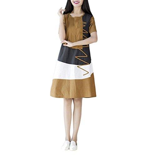 POLP Vestidos Largo ◉ω◉ Algodón y Lino Suelto Vestidos Mujer Verano Elegantes Tallas Grandes Vestidos,Fiesta Falda,Manga Cortas Vestido,Camisetas Vestido, Vestido Ropa de Trabajo Caqui