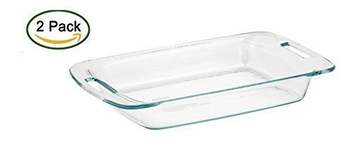 Pyrex Easy Grab 3-Quart Oblong Glass Bakeware Dish, (Pack Of 2) Easy Grip Bakeware