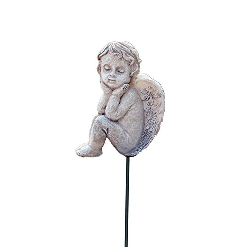 MUAMAX Decorative Sleeping Angel Planter Stakes Miniature Fairy Garden Accessory Flower Bed Succulent Pot Decoration Ornaments... ()