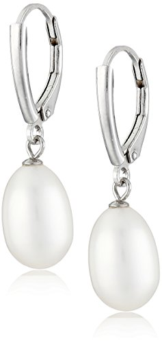 Sterling Silver Freshwater Cultured Pearl Drop Earrings and Pendant Necklace Jewelry Set
