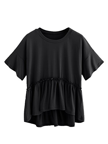 ROMWE Women's Loose Ruffle Hem Short Sleeve High Low Peplum Blouse Top Black X-Small (Hem Dip Top)