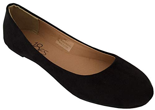Shoes 18 Womens Classic Round Toe Ballerina Ballet Flat Shoes 8600 Black Micro - Dress Shoes Flats