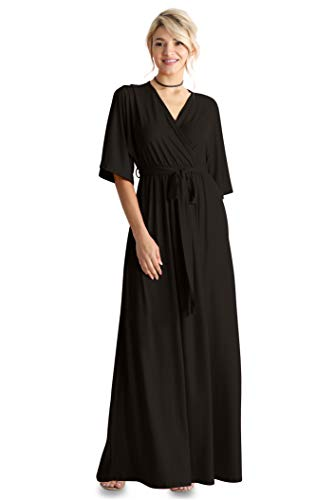 Flowy Long Maxi Wrap Dresses for Women with Tie Belt Plus Size and Reg. - Made in USA (Size Small US 2-4, Black) (Wrap Dress Tie)