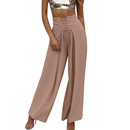 JOFOW Womens Pants Wide Leg Solid Crossover Strappy Tie Tunic Slimming Swing Loose Comfy High Waist Beach Fashion Trousers (M,Pink) -