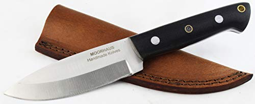 Moorhaus Bushcraft Knife - Micarta Handle Handmade Hunting Skinning Bushcraft Knife - Includes Leather Sheath