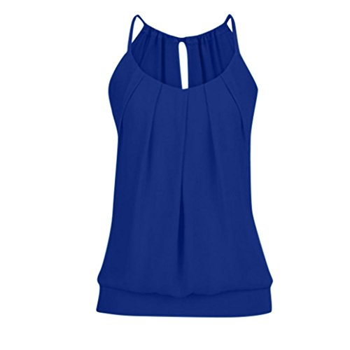 FEITONG Women Summer Loose Wrinkled O Neck Cami Tank Tops Vest Blouse (XXXX-Large, Dark Blue) - Baseball Sleeveless Hat