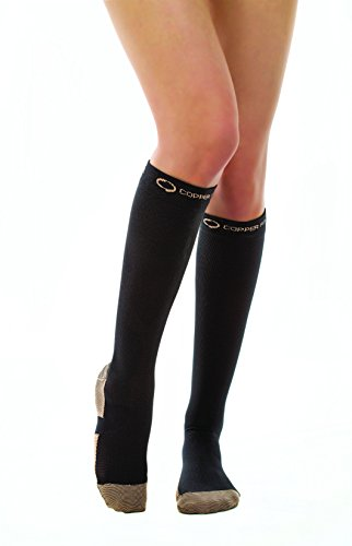 Copper Fit Energy Knee High Compression Socks, Black Large/XL