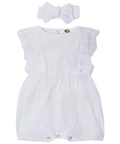 WESIDOM Baby Girl Romper with Cute Headband,Newborn Girl Lace Ruffled Sleeveless Jumpsuit White ()