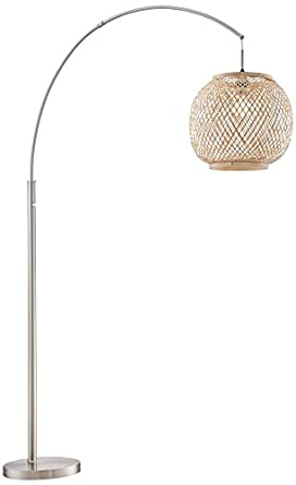 arch floor lamp with rattan shade