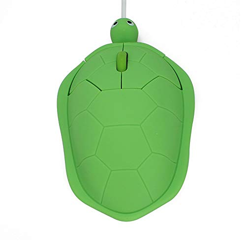USB Wired Mouse Creative 3D Cute Animal Turtle Shaped Optical Mice Corded Kids Mini Mouse 1200DPI PC Laptop Computer (Green)