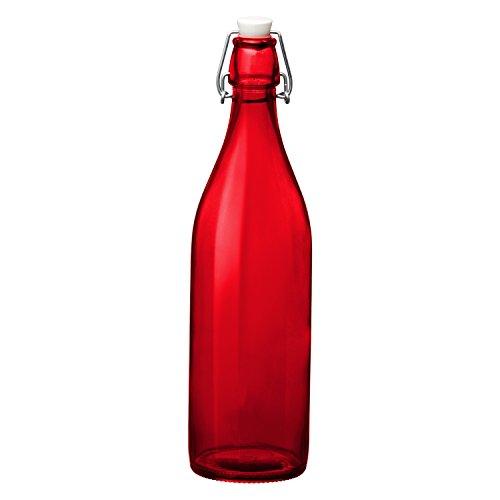 (Bormioli Rocco Giara Red Glass Swing Top Bottle, 33 3/4 oz)
