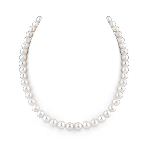 """Price comparison product image 7.5-8mm White Freshwater Cultured Pearl Necklace 18"""" Length AA Quality"""